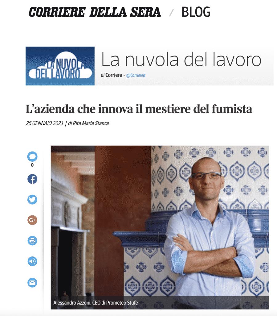 Corriere della Sera   La nuvola del lavoro: L'azienda che innova il mestiere del fumista