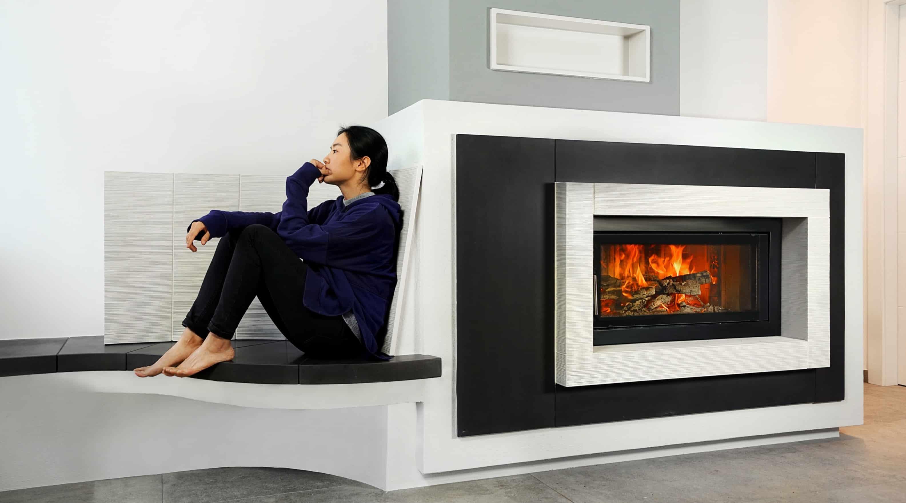 Caminetto design con panca riscaldata